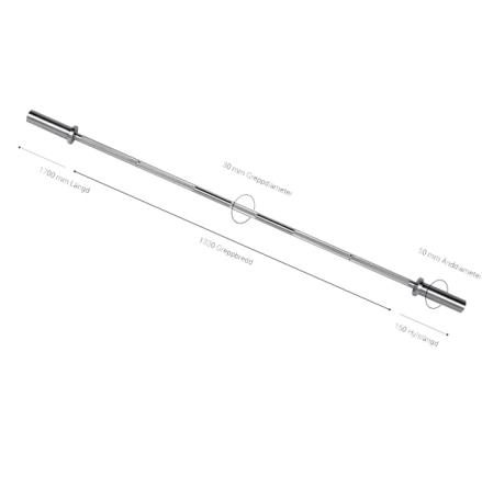 Internationell kompakt skivstång 11 kg, 170 cm, 28 mm grepp